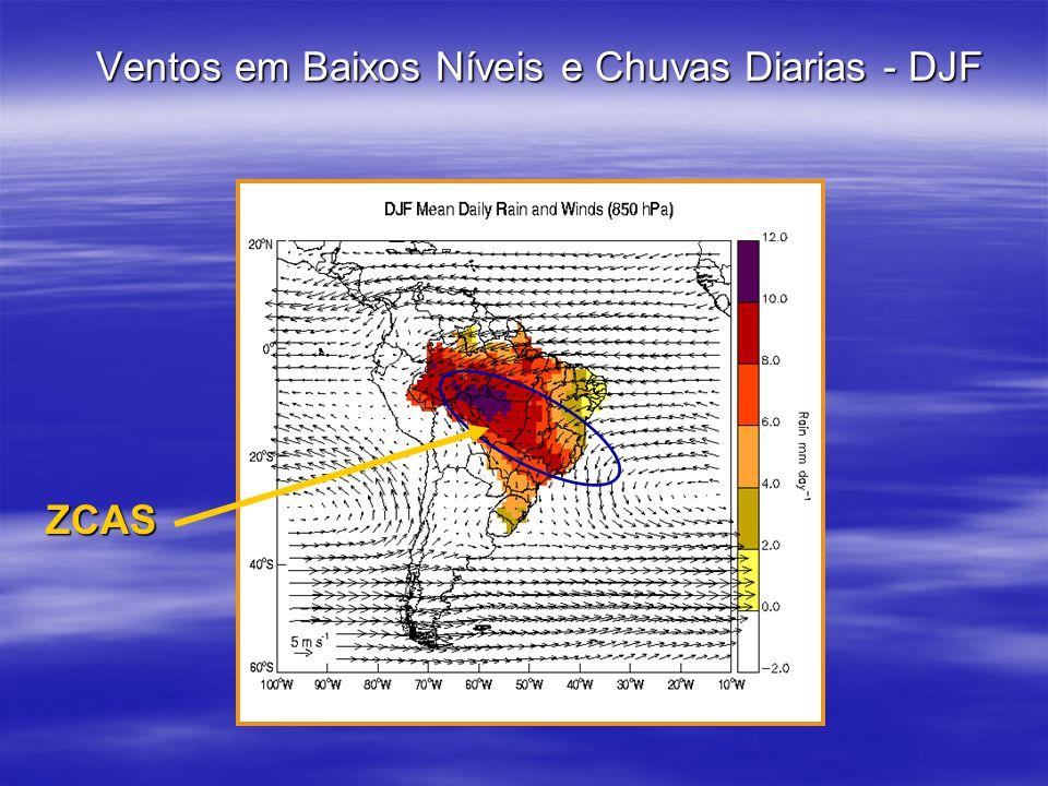 Ventos em Baixos Níveis e Chuvas Diarias - DJF ZCAS