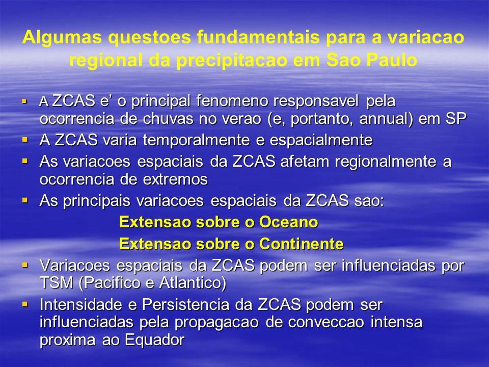 Algumas questoes fundamentais para a variacao regional da precipitacao em Sao Paulo  A ZCAS e' o principal fenomeno responsavel pela ocorrencia de ch