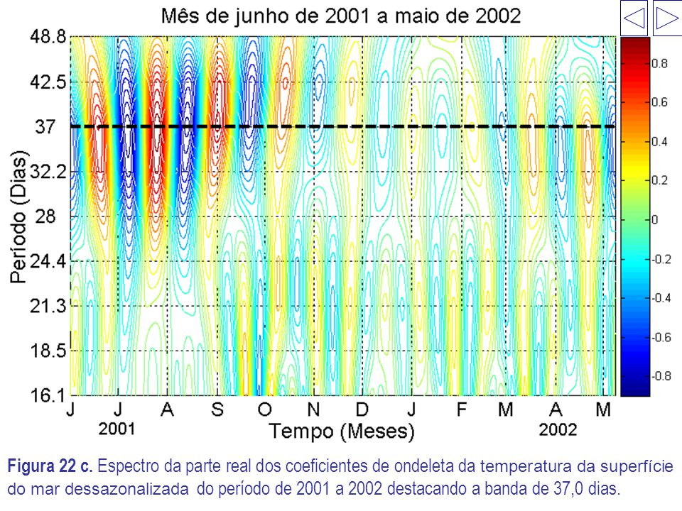 Figura 22 c. Espectro da parte real dos coeficientes de ondeleta da temperatura da superfície do mar dessazonalizada do período de 2001 a 2002 destaca