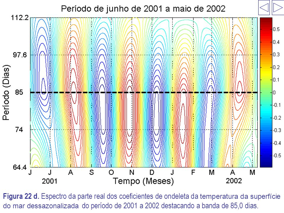 Figura 22 d. Espectro da parte real dos coeficientes de ondeleta da temperatura da superfície do mar dessazonalizada do período de 2001 a 2002 destaca