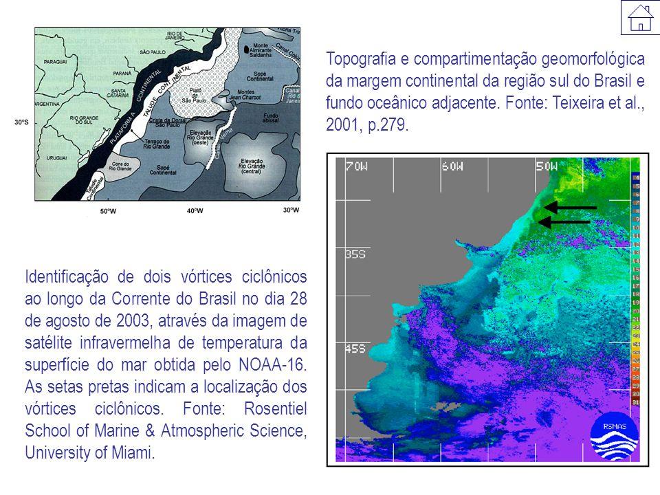 Topografia e compartimentação geomorfológica da margem continental da região sul do Brasil e fundo oceânico adjacente.