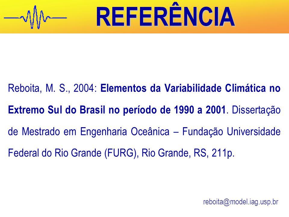 REFERÊNCIA Reboita, M.