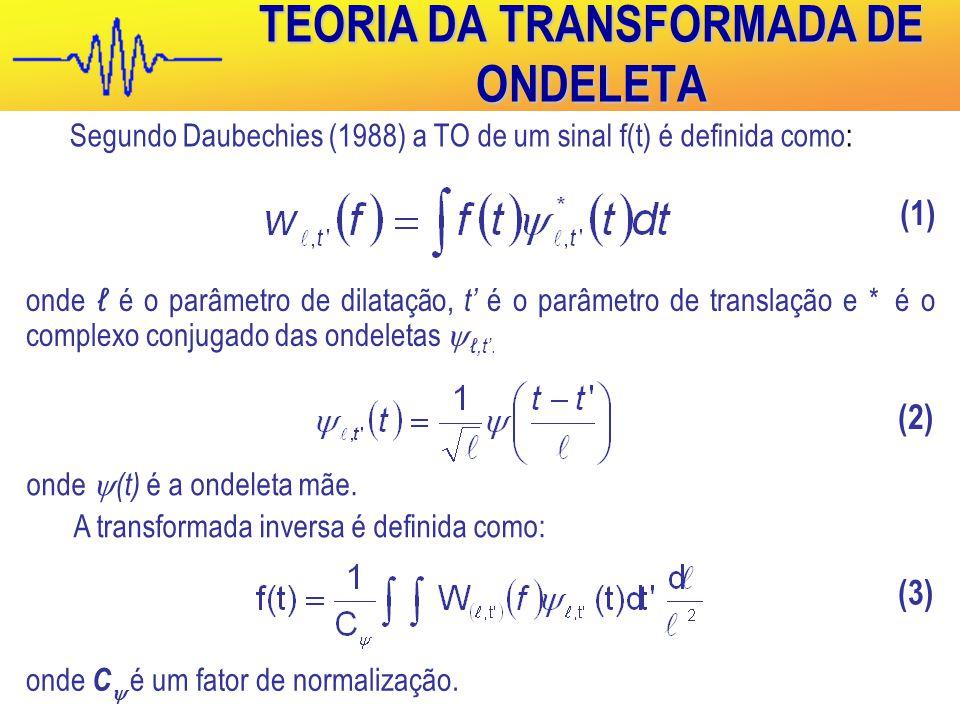 TEORIA DA TRANSFORMADA DE ONDELETA Segundo Daubechies (1988) a TO de um sinal f(t) é definida como: onde ℓ é o parâmetro de dilatação, t' é o parâmetro de translação e * é o complexo conjugado das ondeletas  ℓ,t'.