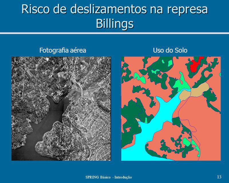SPRING Básico - Introdução 13 Risco de deslizamentos na represa Billings Fotografia aéreaUso do Solo