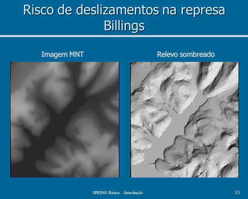 SPRING Básico - Introdução 15 Risco de deslizamentos na represa Billings Imagem MNTRelevo sombreado