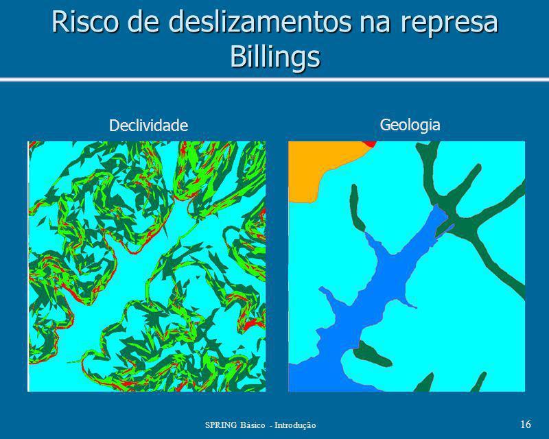 SPRING Básico - Introdução 16 Risco de deslizamentos na represa Billings Declividade Geologia