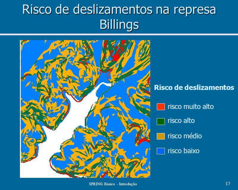 SPRING Básico - Introdução 17 Risco de deslizamentos na represa Billings Risco de deslizamentos risco muito alto risco alto risco médio risco baixo