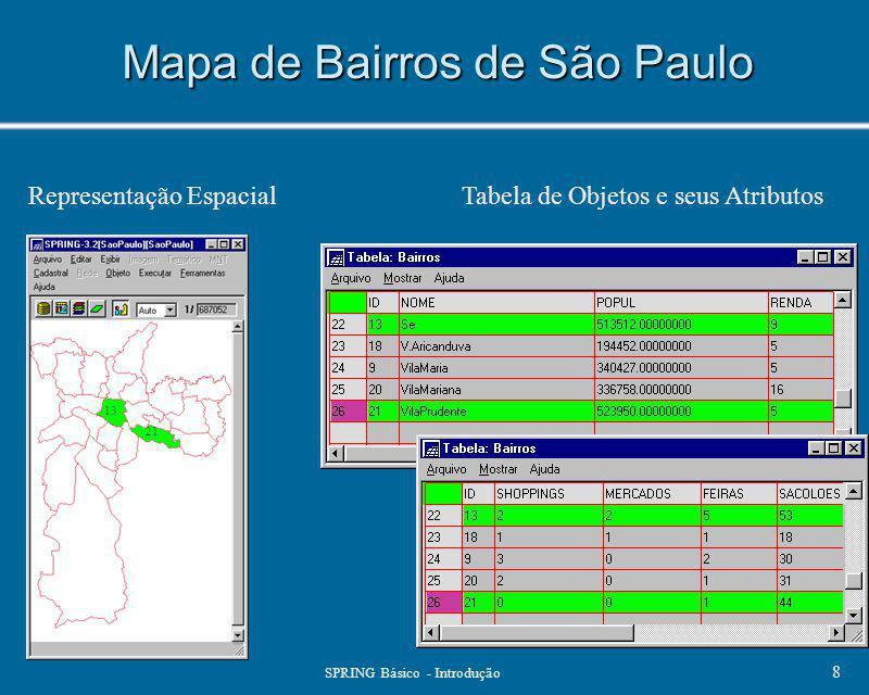 SPRING Básico - Introdução 8 Mapa de Bairros de São Paulo Tabela de Objetos e seus Atributos 13 21 Representação Espacial