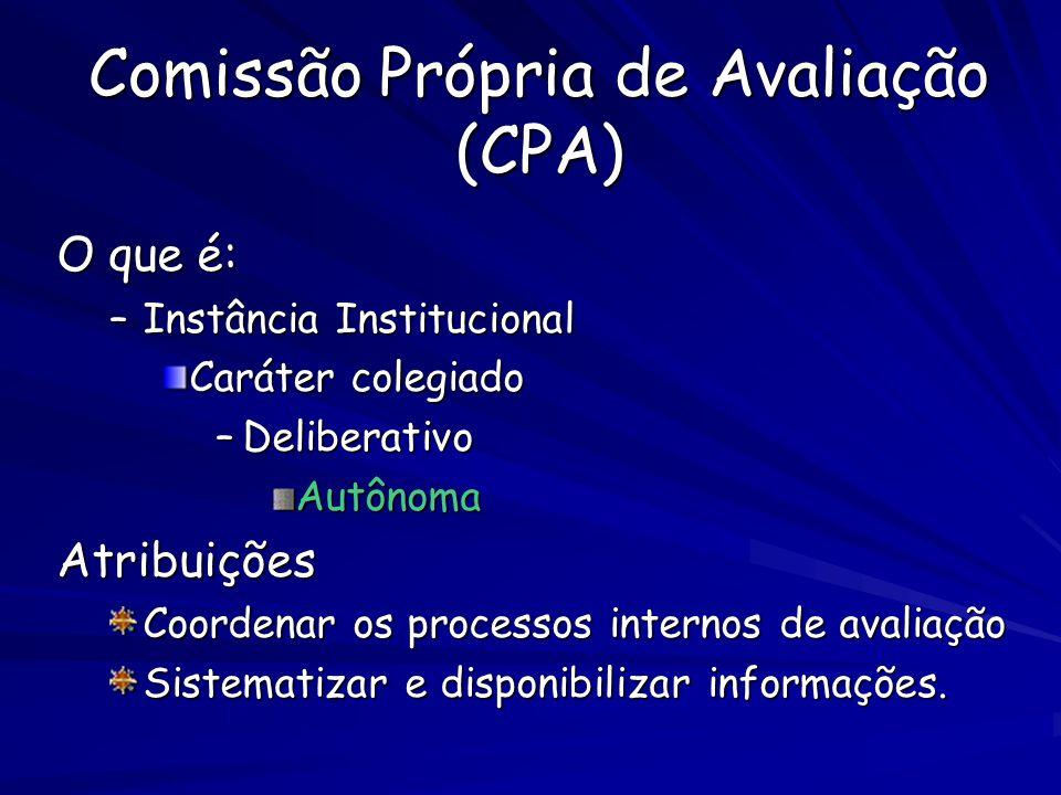 Comissão Própria de Avaliação (CPA) O que é: –Instância Institucional Caráter colegiado –Deliberativo AutônomaAtribuições Coordenar os processos internos de avaliação Sistematizar e disponibilizar informações.
