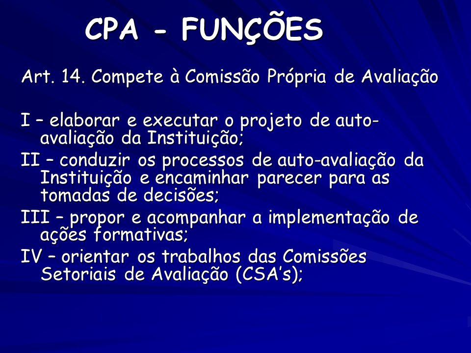 CPA - FUNÇÕES Art. 14. Compete à Comissão Própria de Avaliação I – elaborar e executar o projeto de auto- avaliação da Instituição; II – conduzir os p