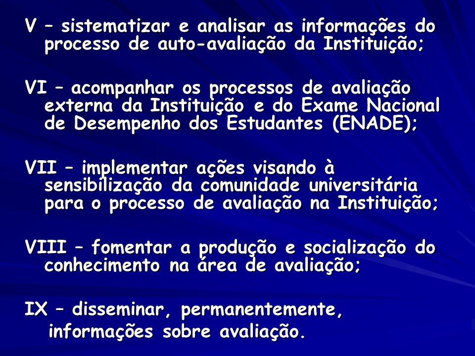 V – sistematizar e analisar as informações do processo de auto-avaliação da Instituição; VI – acompanhar os processos de avaliação externa da Institui