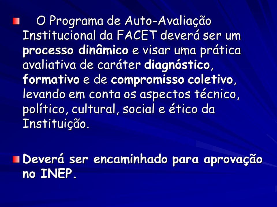 O Programa de Auto-Avaliação Institucional da FACET deverá ser um processo dinâmico e visar uma prática avaliativa de caráter diagnóstico, formativo e