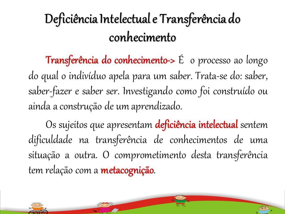 Deficiência Intelectual e Transferência do conhecimento Transferência do conhecimento-> Transferência do conhecimento-> É o processo ao longo do qual