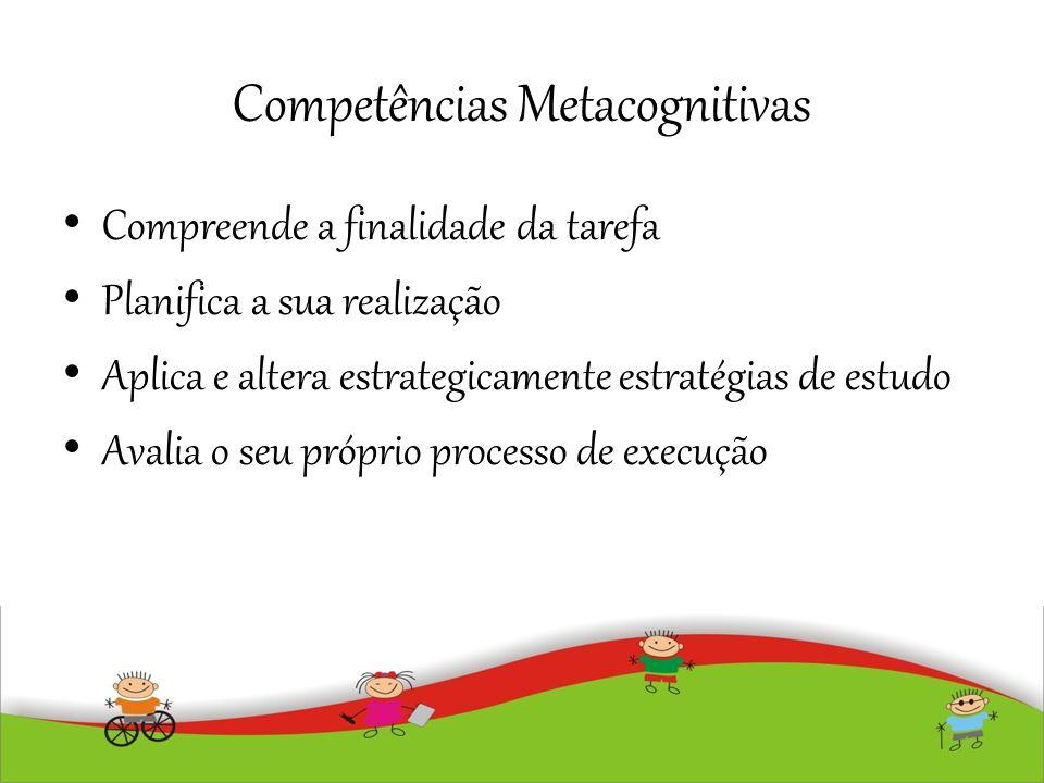 Competências Metacognitivas Compreende a finalidade da tarefa Planifica a sua realização Aplica e altera estrategicamente estratégias de estudo Avalia