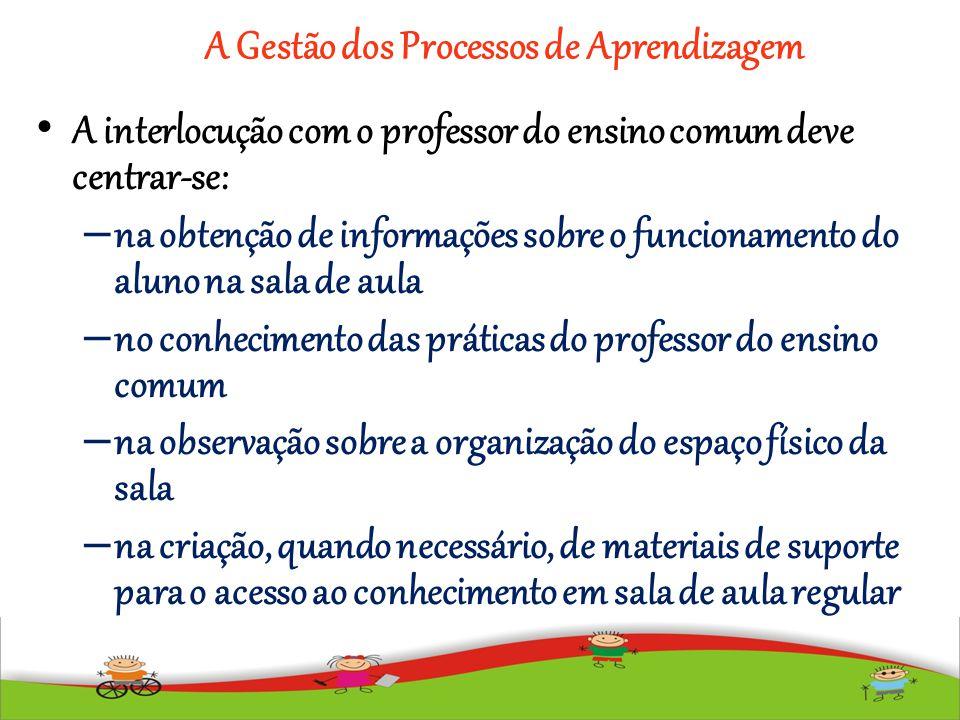 A Gestão dos Processos de Aprendizagem A interlocução com o professor do ensino comum deve centrar-se: – na obtenção de informações sobre o funcioname