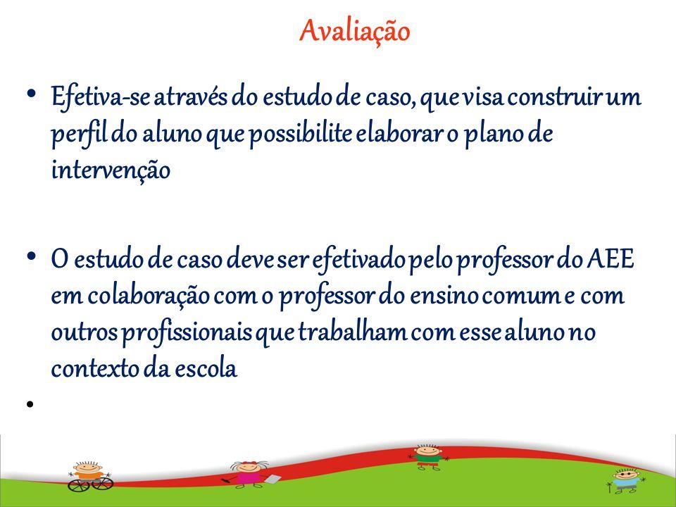 Avaliação Efetiva-se através do estudo de caso, que visa construir um perfil do aluno que possibilite elaborar o plano de intervenção O estudo de caso