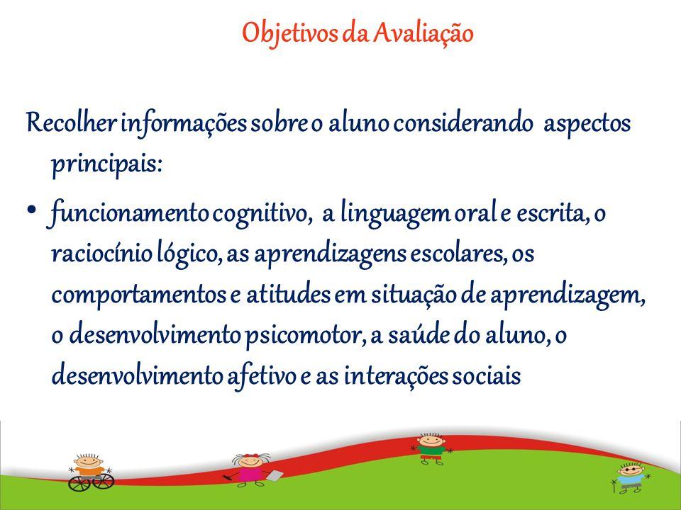 Objetivos da Avaliação Recolher informações sobre o aluno considerando aspectos principais: funcionamento cognitivo, a linguagem oral e escrita, o rac