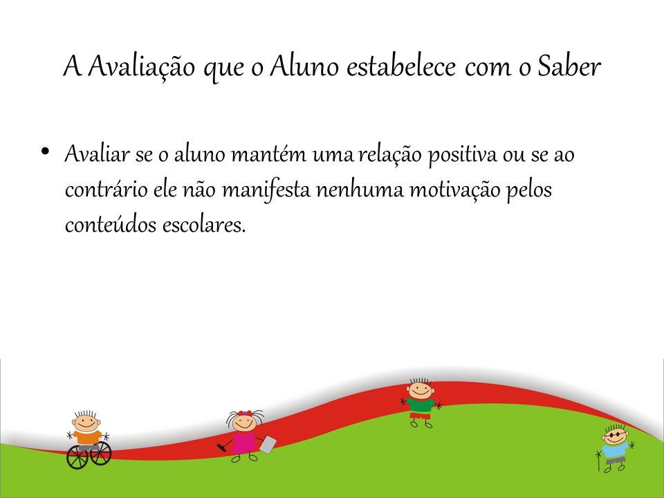 A Avaliação que o Aluno estabelece com o Saber Avaliar se o aluno mantém uma relação positiva ou se ao contrário ele não manifesta nenhuma motivação p