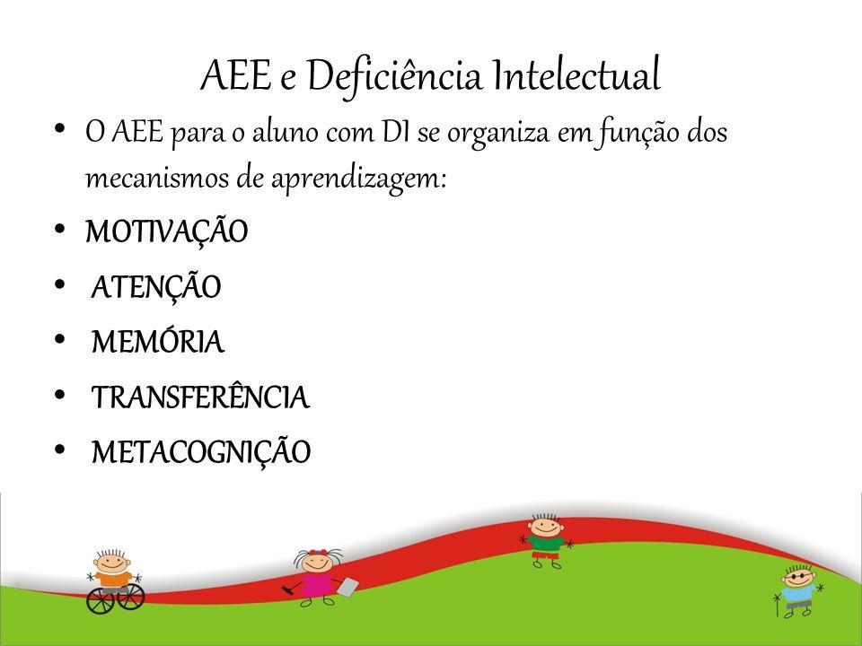 AEE e Deficiência Intelectual O AEE para o aluno com DI se organiza em função dos mecanismos de aprendizagem: MOTIVAÇÃO ATENÇÃO MEMÓRIA TRANSFERÊNCIA
