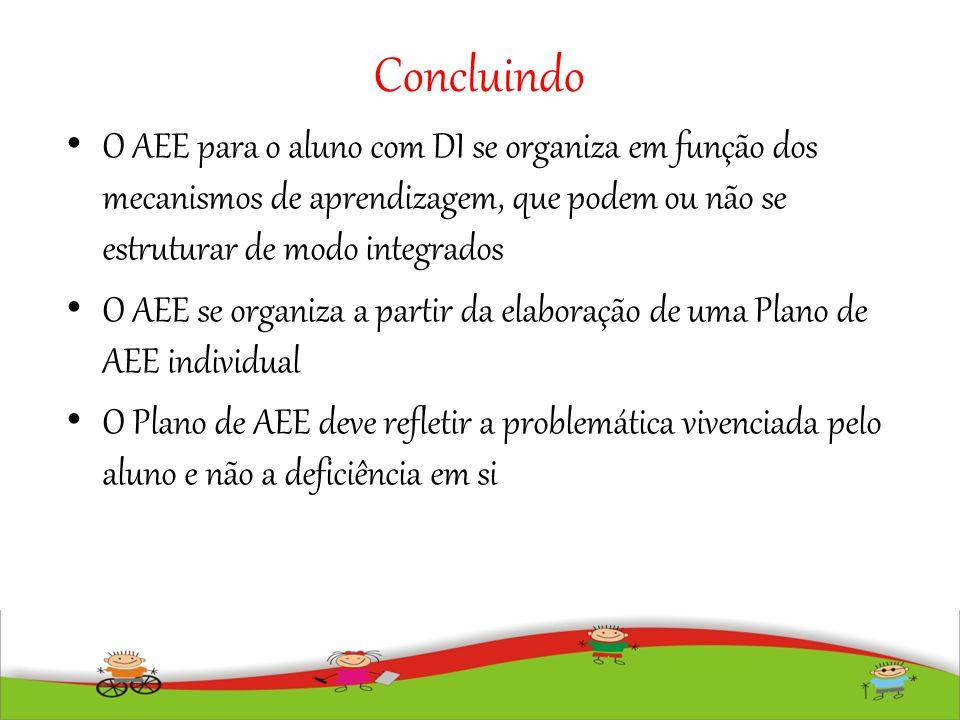 Concluindo O AEE para o aluno com DI se organiza em função dos mecanismos de aprendizagem, que podem ou não se estruturar de modo integrados O AEE se