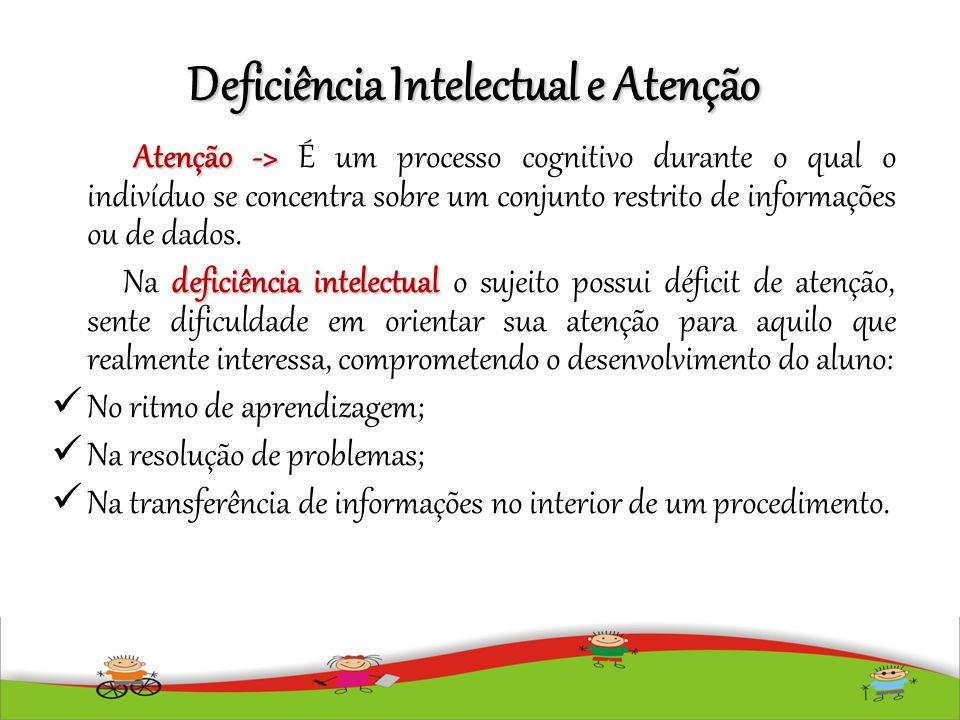 Deficiência Intelectual e Atenção Atenção -> Atenção -> É um processo cognitivo durante o qual o indivíduo se concentra sobre um conjunto restrito de