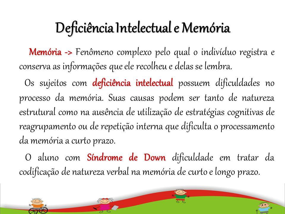 Deficiência Intelectual e Memória Memória -> Memória -> Fenômeno complexo pelo qual o indivíduo registra e conserva as informações que ele recolheu e