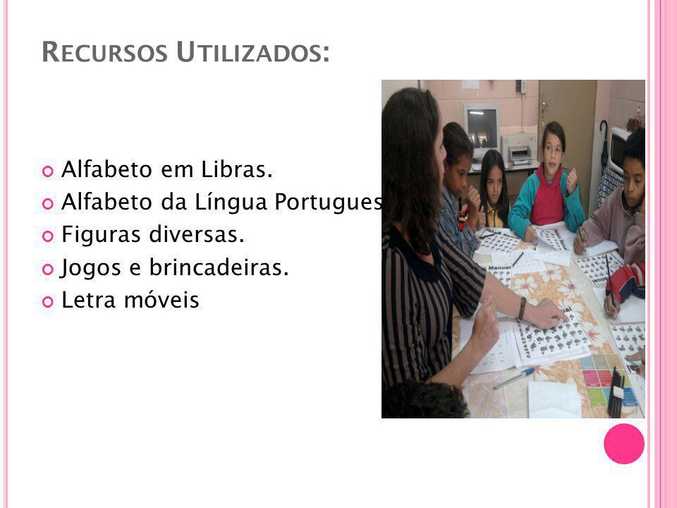R ECURSOS U TILIZADOS : Alfabeto em Libras. Alfabeto da Língua Portuguesa.