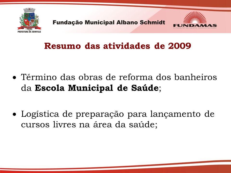 Resumo das atividades de 2009  Término das obras de reforma dos banheiros da Escola Municipal de Saúde ;  Logística de preparação para lançamento de cursos livres na área da saúde;