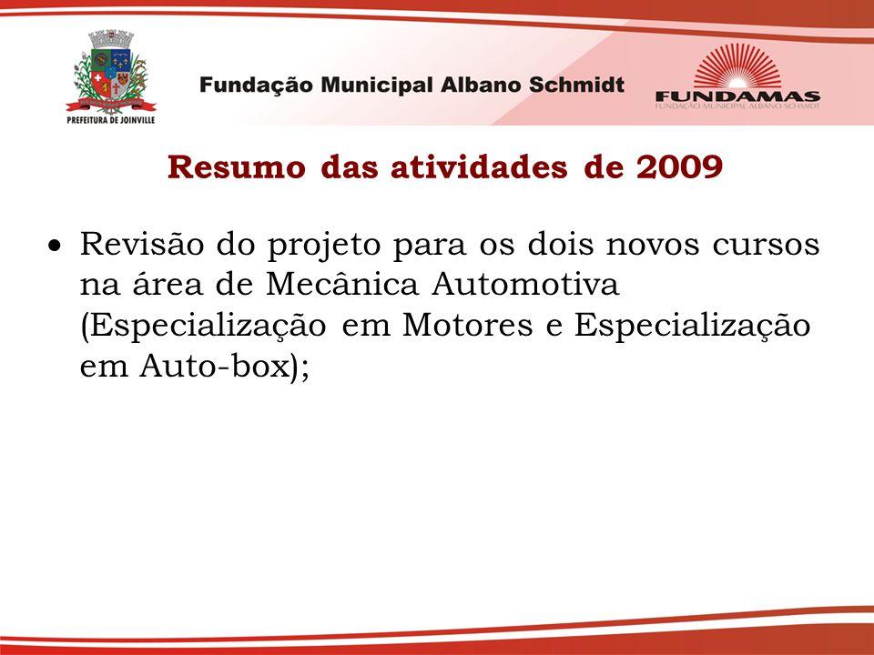 Resumo das atividades de 2009  Revisão do projeto para os dois novos cursos na área de Mecânica Automotiva (Especialização em Motores e Especializaçã