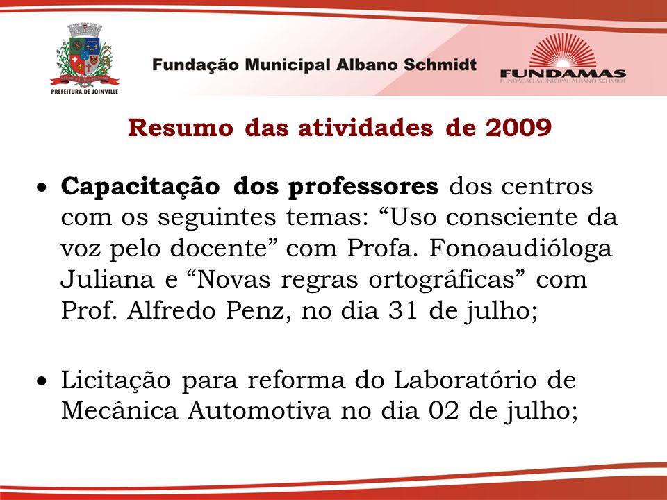 Resumo das atividades de 2009  Capacitação dos professores dos centros com os seguintes temas: Uso consciente da voz pelo docente com Profa.