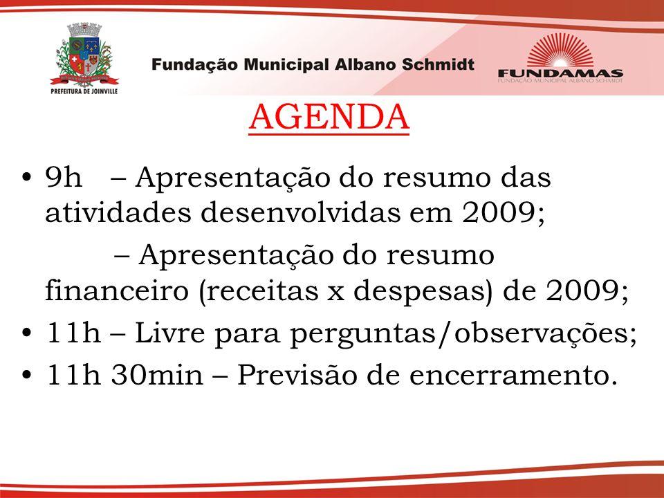AGENDA 9h – Apresentação do resumo das atividades desenvolvidas em 2009; – Apresentação do resumo financeiro (receitas x despesas) de 2009; 11h – Livre para perguntas/observações; 11h 30min – Previsão de encerramento.