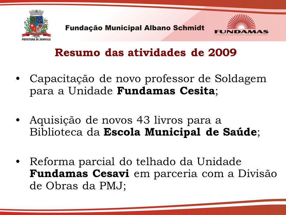 Resumo das atividades de 2009 Capacitação de novo professor de Soldagem para a Unidade Fundamas Cesita ; Aquisição de novos 43 livros para a Bibliotec