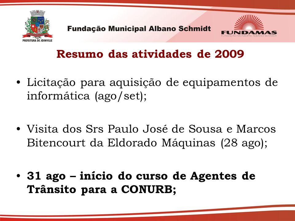 Resumo das atividades de 2009 Licitação para aquisição de equipamentos de informática (ago/set); Visita dos Srs Paulo José de Sousa e Marcos Bitencourt da Eldorado Máquinas (28 ago); 31 ago – início do curso de Agentes de Trânsito para a CONURB;