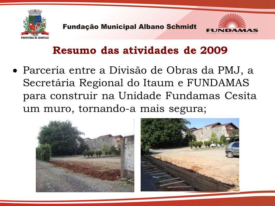 Resumo das atividades de 2009  Parceria entre a Divisão de Obras da PMJ, a Secretária Regional do Itaum e FUNDAMAS para construir na Unidade Fundamas Cesita um muro, tornando-a mais segura;