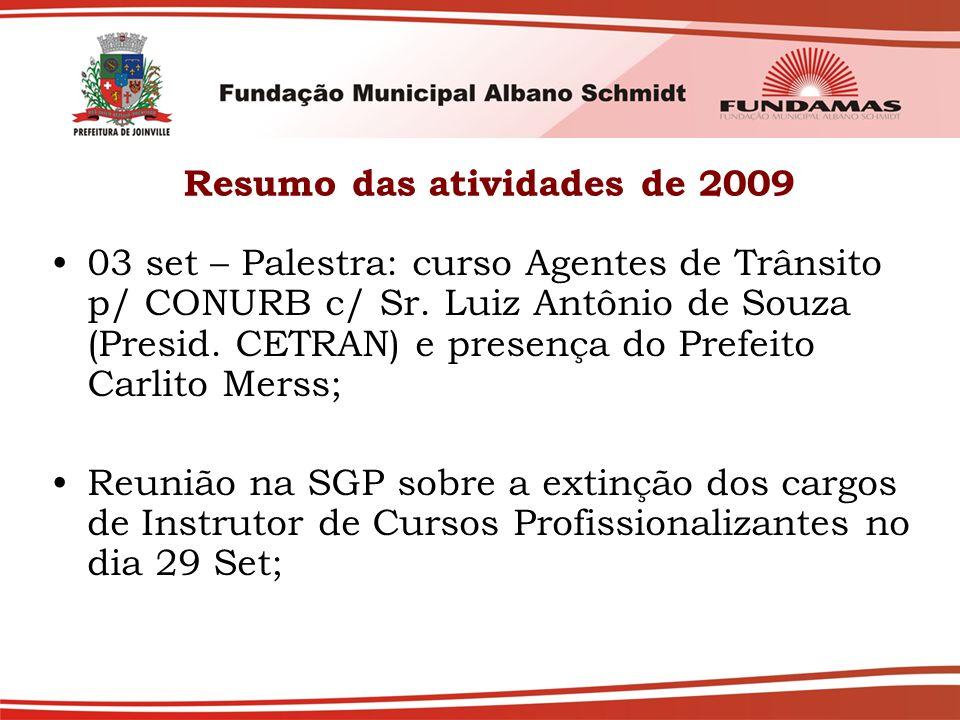 Resumo das atividades de 2009 03 set – Palestra: curso Agentes de Trânsito p/ CONURB c/ Sr. Luiz Antônio de Souza (Presid. CETRAN) e presença do Prefe