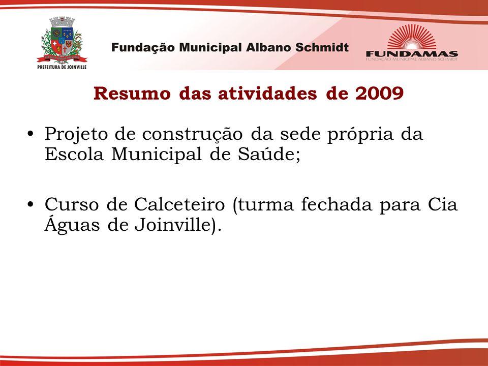 Resumo das atividades de 2009 Projeto de construção da sede própria da Escola Municipal de Saúde; Curso de Calceteiro (turma fechada para Cia Águas de