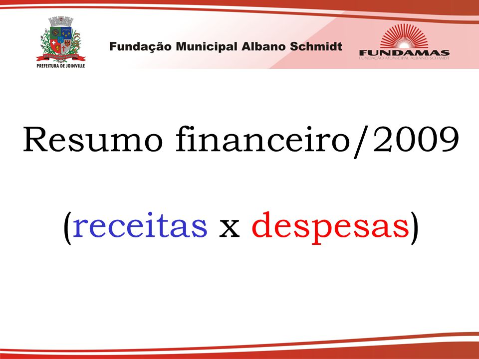 Resumo financeiro/2009 (receitas x despesas)