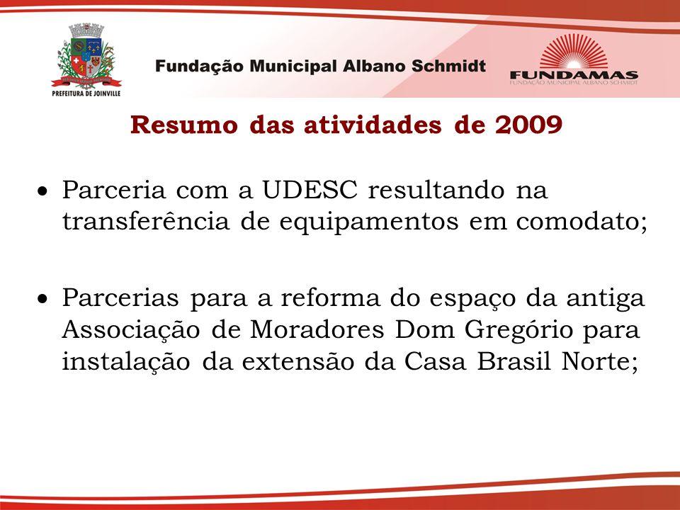 Resumo das atividades de 2009  Parceria com a UDESC resultando na transferência de equipamentos em comodato;  Parcerias para a reforma do espaço da