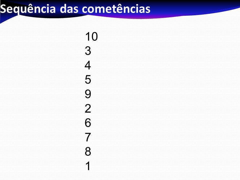 Sequência das cometências 10 3 4 5 9 2 6 7 8 1