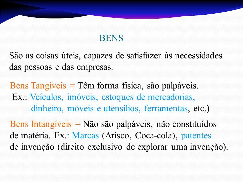 BENS São as coisas úteis, capazes de satisfazer às necessidades das pessoas e das empresas.