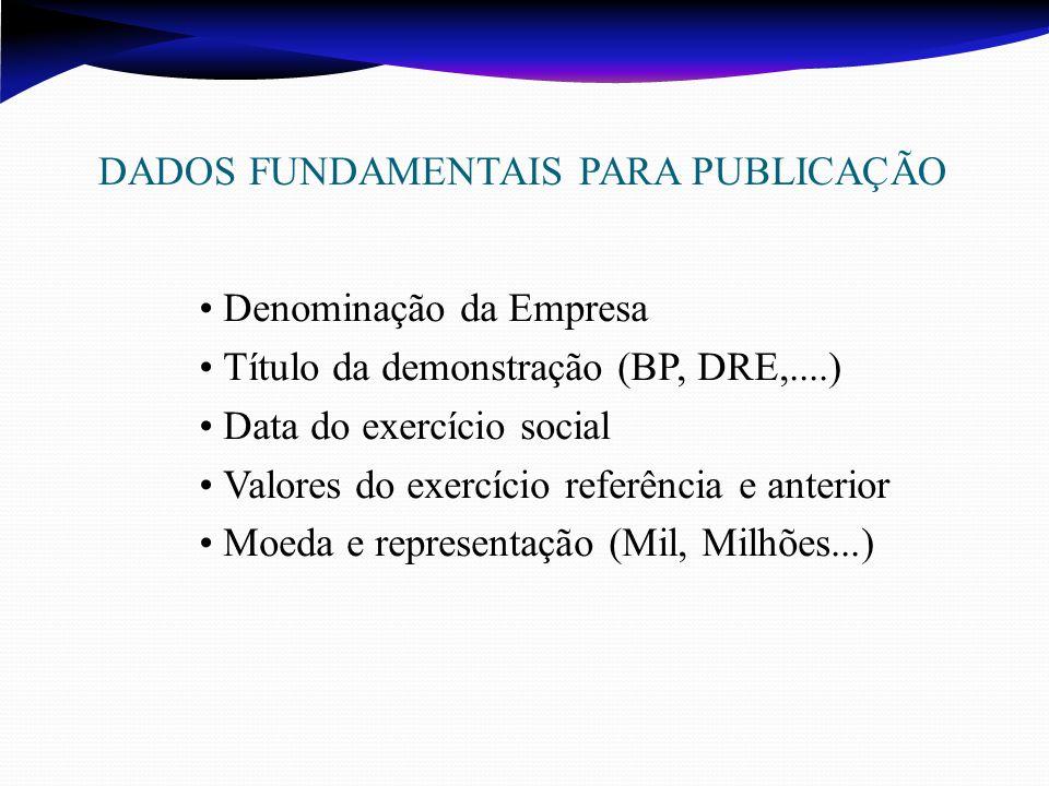 DADOS FUNDAMENTAIS PARA PUBLICAÇÃO Denominação da Empresa Título da demonstração (BP, DRE,....) Data do exercício social Valores do exercício referência e anterior Moeda e representação (Mil, Milhões...)