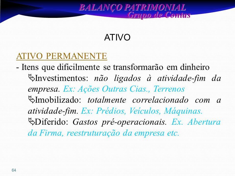 64 BALANÇO PATRIMONIAL Grupo de Contas Grupo de Contas ATIVO ATIVO PERMANENTE - Itens que dificilmente se transformarão em dinheiro  Investimentos: não ligados à atividade-fim da empresa.