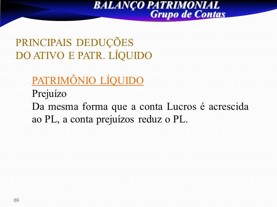 69 BALANÇO PATRIMONIAL Grupo de Contas Grupo de Contas PRINCIPAIS DEDUÇÕES DO ATIVO E PATR.