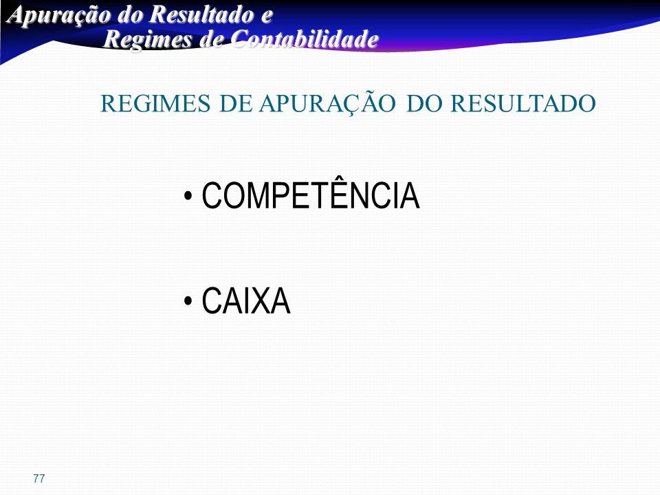 77 Apuração do Resultado e Regimes de Contabilidade Regimes de Contabilidade REGIMES DE APURAÇÃO DO RESULTADO COMPETÊNCIA CAIXA