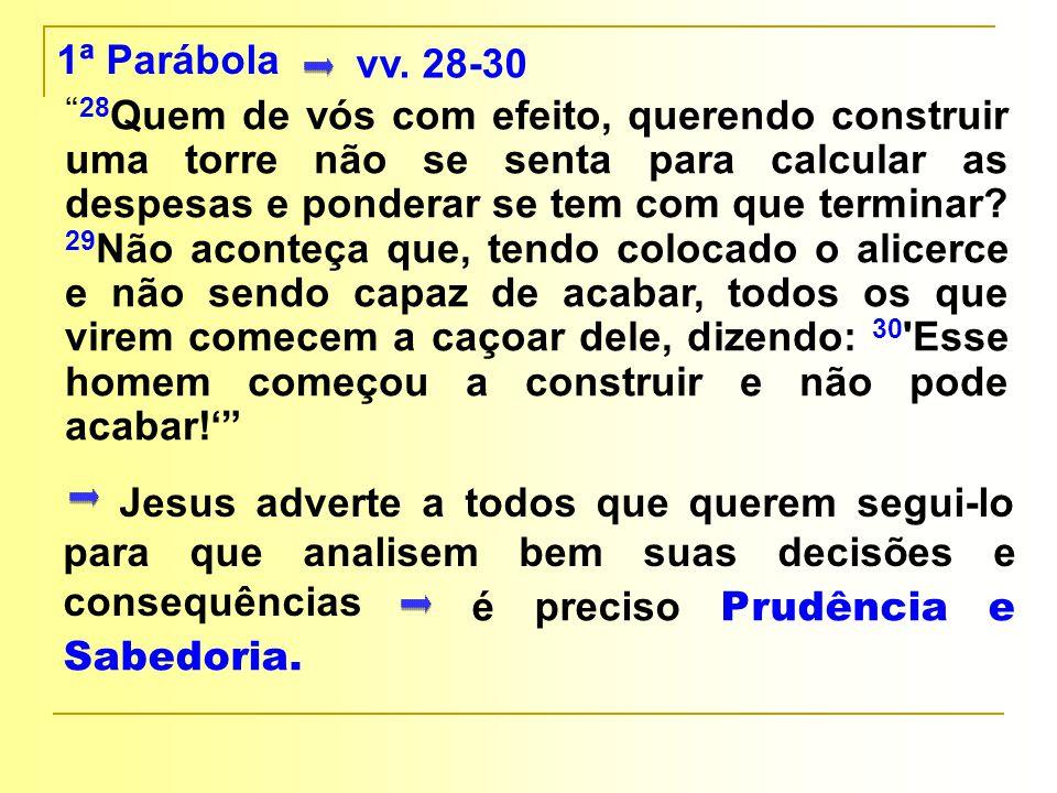 """Jesus adverte a todos que querem segui-lo para que analisem bem suas decisões e consequências 1ª Parábola vv. 28-30 """"28 Quem de vós com efeito, queren"""