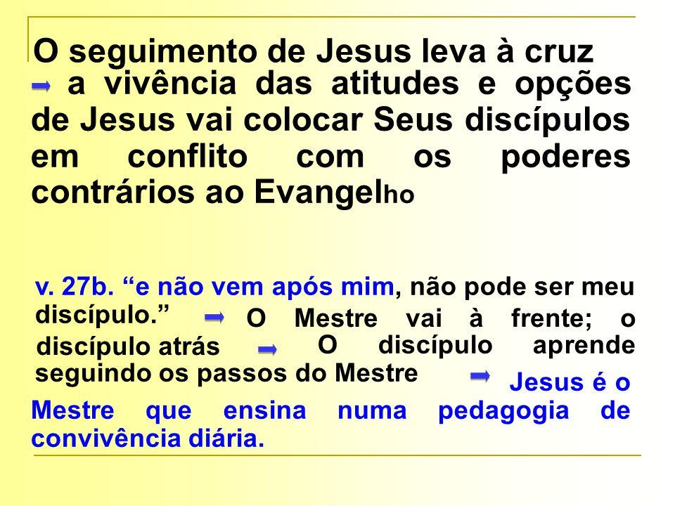 O discípulo aprende seguindo os passos do Mestre O Mestre vai à frente; o discípulo atrás Jesus é o Mestre que ensina numa pedagogia de convivência di
