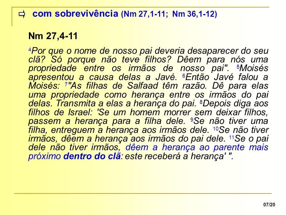 com sobrevivência (Nm 27,1-11; Nm 36,1-12) 07/20 Nm 27,4-11 4 Por que o nome de nosso pai deveria desaparecer do seu clã.