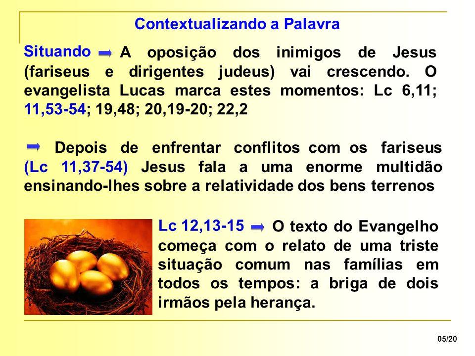 O texto do Evangelho começa com o relato de uma triste situação comum nas famílias em todos os tempos: a briga de dois irmãos pela herança.