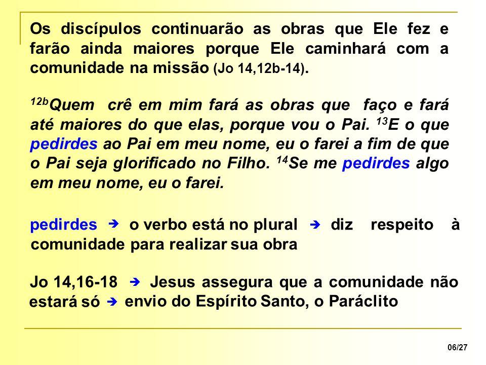 Jesus assegura que a comunidade não estará só diz respeito à comunidade para realizar sua obra  pedirdeso verbo está no plural 06/27 12b Quem crê em