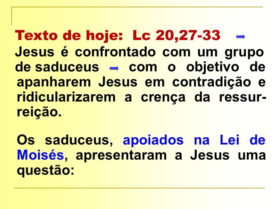 com o objetivo de apanharem Jesus em contradição e ridicularizarem a crença da ressur- reição.